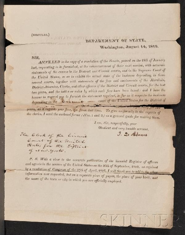3: Adams, John Quincy (1767-1848), Signed document, as