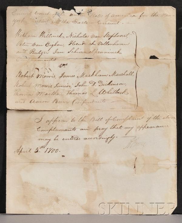 14: Burr, Aaron (1756-1836), Three signed documents, on