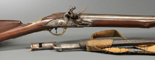 "16: First Model ""Brown Bess"" Flintlock Rifle and Bayone"