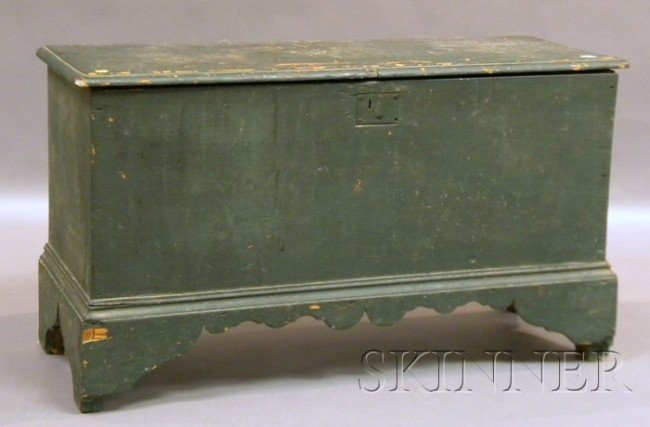 506: Blue-painted Pine Six-board Blanket Box, ht. 24, l