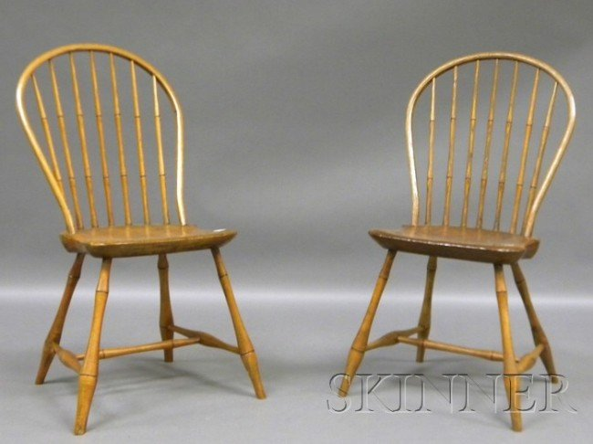 507: Two Windsor Bow-back Side Chairs with Bamboo Turni