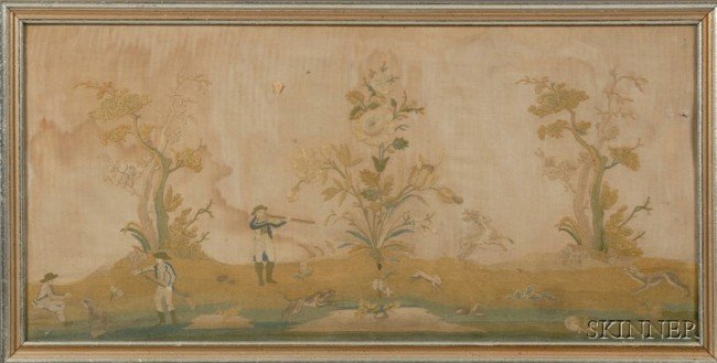 511: Framed English Needlework Picture of a Hunt Scene,