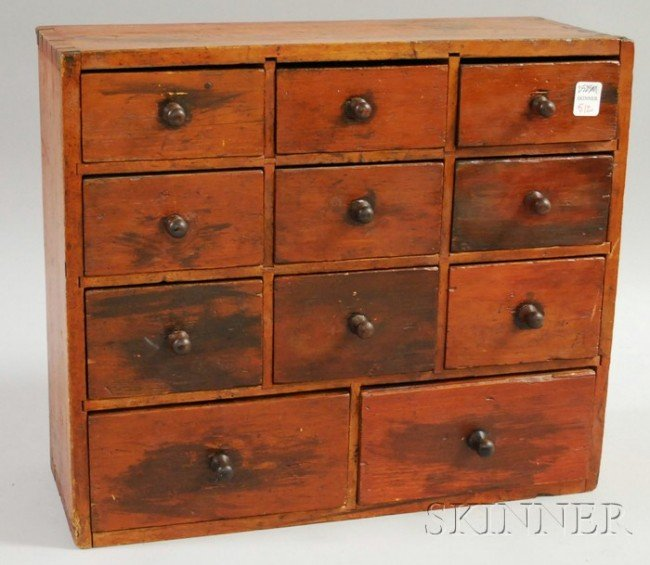 512: Red-stained Wooden Eleven-drawer Spice Chest, with