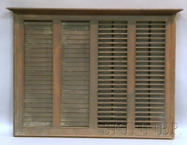 515: Brown-painted Wooden Louvered Fireboard, ht. 34 1/