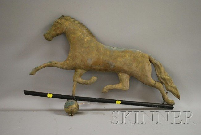 517: Patinated Molded Copper Running Horse Weather Vane