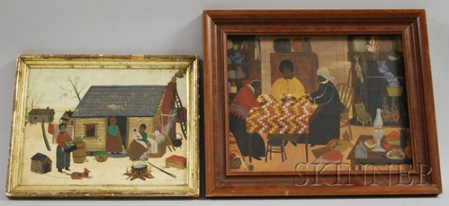 518: American School, Late 19th Century Lot of Two Folk
