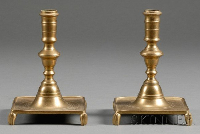 559: Pair of Early Brass Candlesticks, probably Spain,
