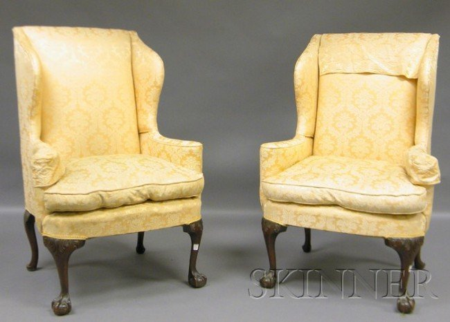 614: Pair of Chippendale-style Ivory Damask-upholstered