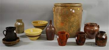 708 Eight Pieces of Assorted Glazed Stoneware and Redw