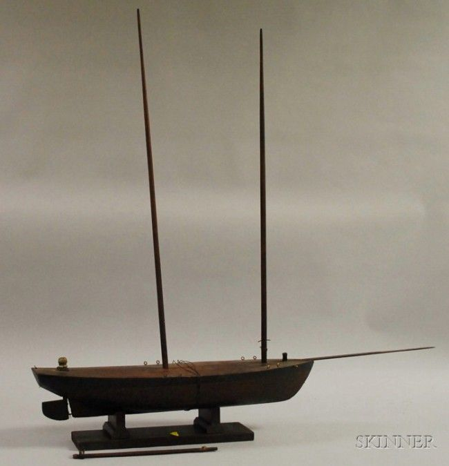 716: Painted Wood Two-masted Pond Boat Model, lg. 25 in