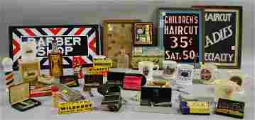 748 Collection of Vintage Barber Hair and Shaving Rel