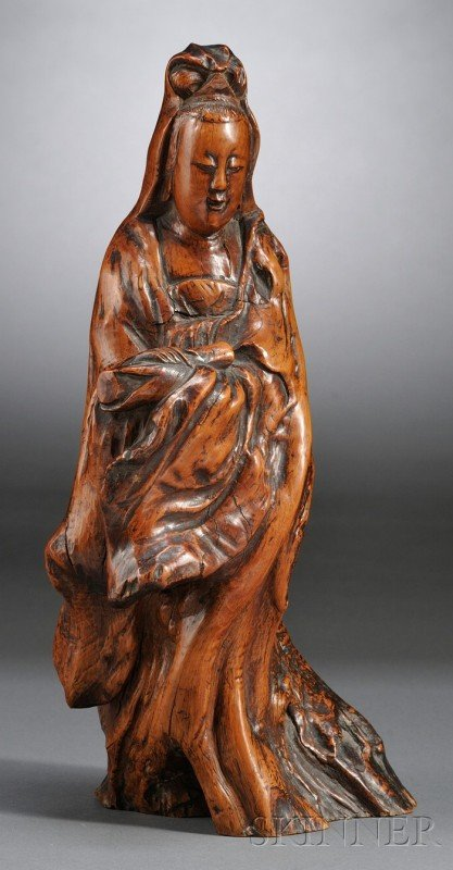851: Burlwood Carving, China, 18th/19th century, figure