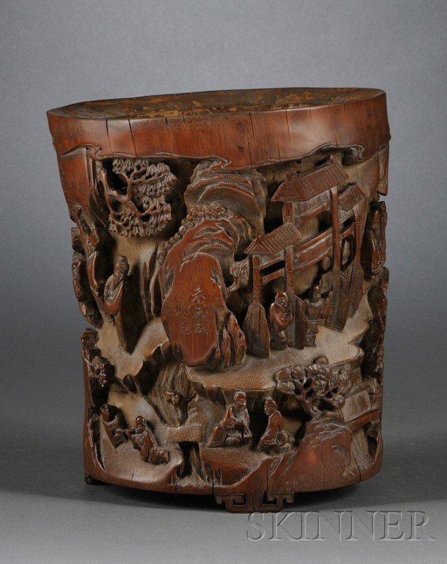 853: Bamboo Brush Pot, China, 19th century, surface car