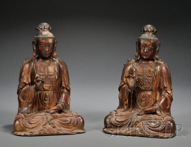 861: Pair of Gilt-lacquered Wood Buddha, China, 18th ce