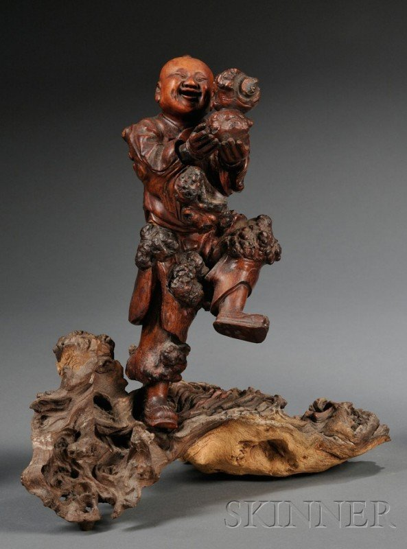 863: Burlwood Carving, China, 19th century, figure of L