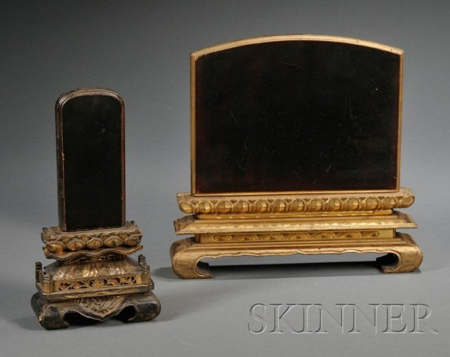 867: Pair of Lacquered Wood Temple Tablets, China, 19th