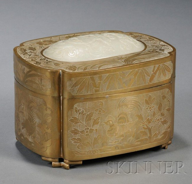 907: Brass Box and Cover with Jade Plaque, China, of qu
