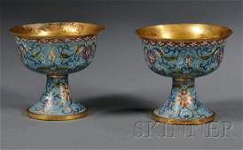 910: Pair of Cloisonné Enameled Stem Cups, China, 19th