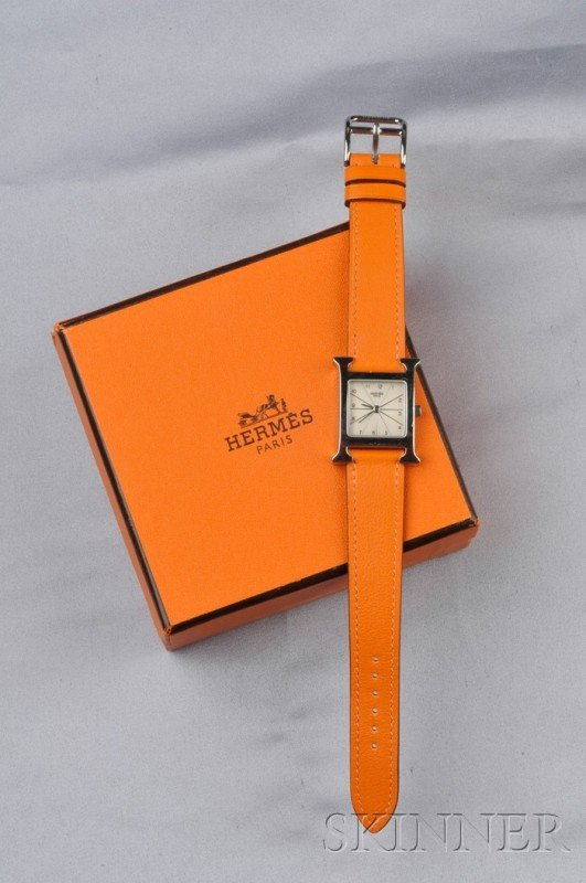 """1: Stainless Steel """"H-our"""" Wristwatch, Hermes, the silv"""