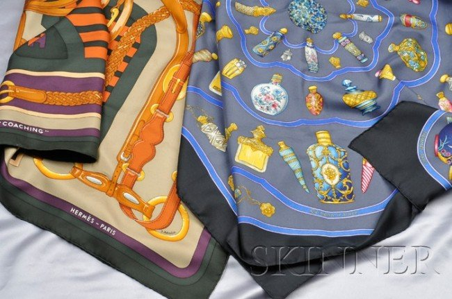 """5: Two Silk Scarves, Hermes, """"Le Flacon"""" with various b"""