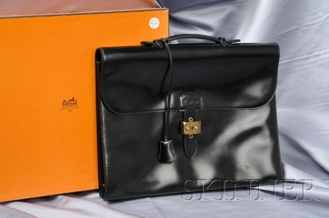 8: Black Leather Briefcase, Hermes, Paris, with gold-to