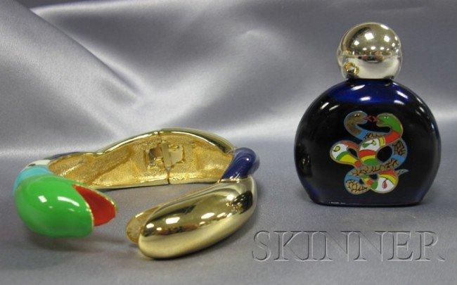 12: Artist-Designed Polychrome Enamel Serpent Bangle, N