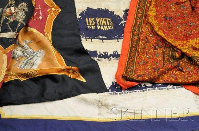 """13: Three Scarves, Hermes, two silk, """"Les Ponts de Pari"""
