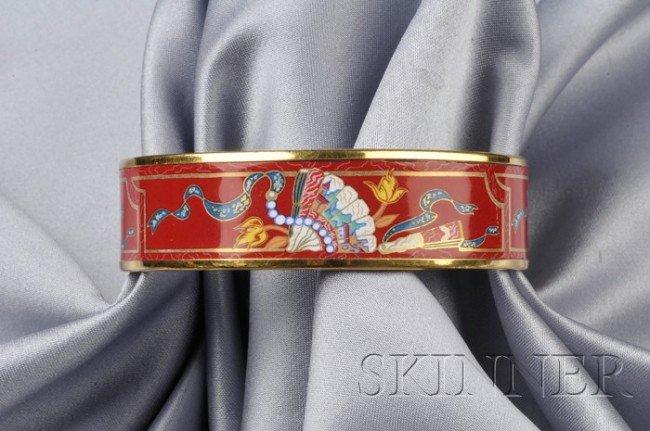 14: Polychrome Enamel Bangle, Hermes, depicting fans, g