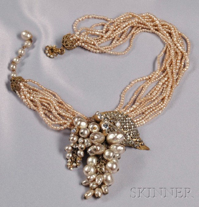 23: Vintage Gilded Metal and Imitation Pearl Grape Clus