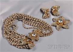 35 Vintage Gilded Metal Imitation Seed Pearl and Ros