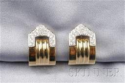163 18kt Gold and Diamond Earclips each paveset with