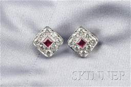 690 Platinum Ruby and Diamond Earstuds Tiffany  Co