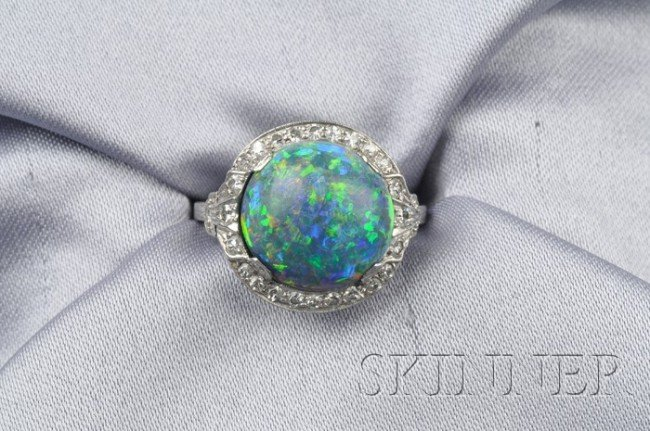 778: Art Deco Platinum, Black Opal, and Diamond Ring, J
