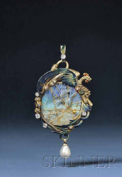 795: Fine Art Nouveau 18kt Gold, Carved Opal, Enamel, P