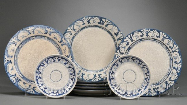 4: Three CPUS and Six Dedham Pottery Items Rabbit decor