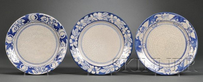 5: Three Dedham Pottery Dinner Plates Decorated earthen