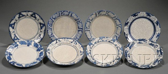 6: Eight Dedham Pottery Decorated Plates Glazed earthen