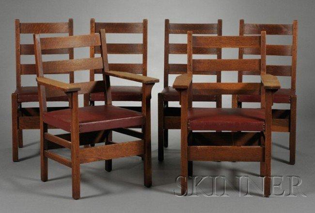 7: Six Gustav Stickley Chairs Oak New York, c. 1912 Two