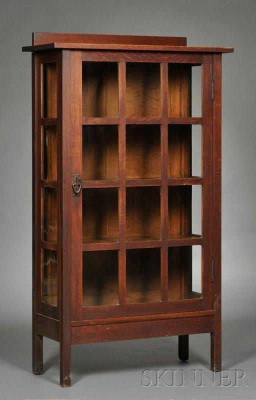 12: Gustav Stickley China Closet Oak, glass, and metal