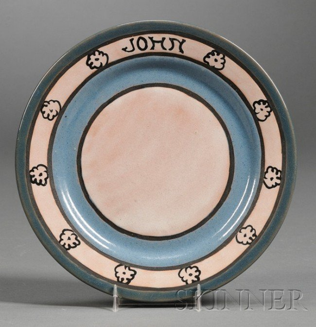 13: Saturday Evening Girls Pottery Plate Decorated pott