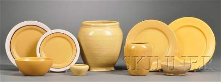15: Four Paul Revere Pottery Plates, Two Vases, and Two