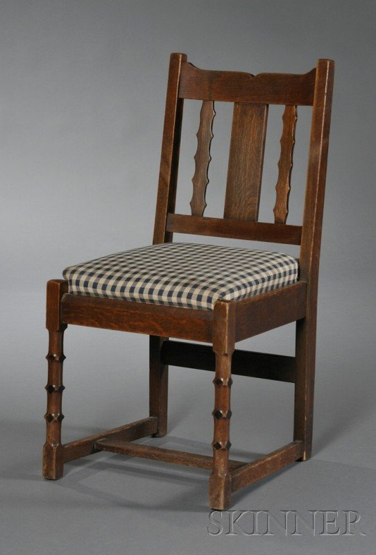 19: L. & J.G. Stickley Side Chair Oak and upholstery Ne