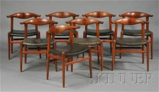 554: Eight Hans Wegner Cow Horn Chairs Teak, rosewood,