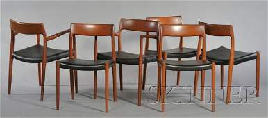 567: Six Niels Moller Chairs Teak and leather J.L. Moll
