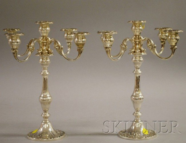 1: Pair of Gorham Sterling Five-light Convertible Cande