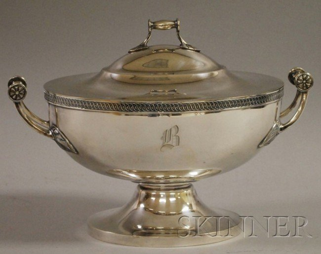 2: Gorham Classical-style Silver-Plated Tureen, with sc