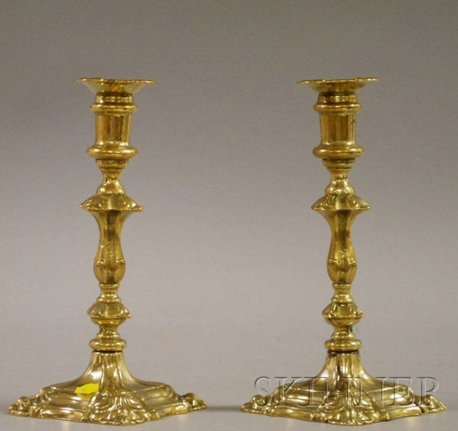 4: Pair of Rococo Brass Candlesticks, ht. 9 in.