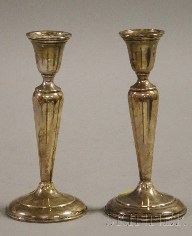 9: Pair of Cartier Sterling Weighted Candlesticks, ht.