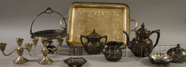 10: Group of Silver-Plated Table Items, including a par