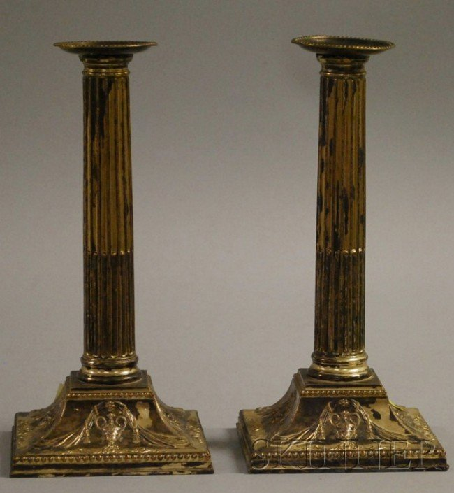 11: Pair of Neoclassical-style Sheffield Silver-Plated